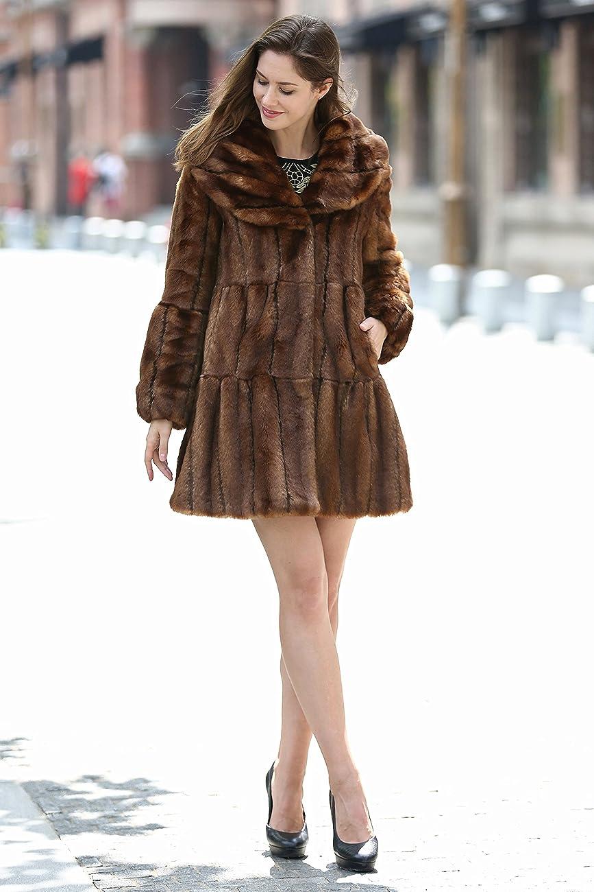 Adelaqueen Women's Vintage Style Luxury Faux Fur Coat with Lotus Ruffle Collar 1