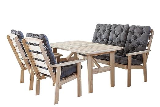 Ambientehome 90396 9 teilig Garten Sitzgruppe Essgruppe Loungegruppe Gartenmöbel Essgarnitur Hanko Maxi Natur mit Kissen, grau