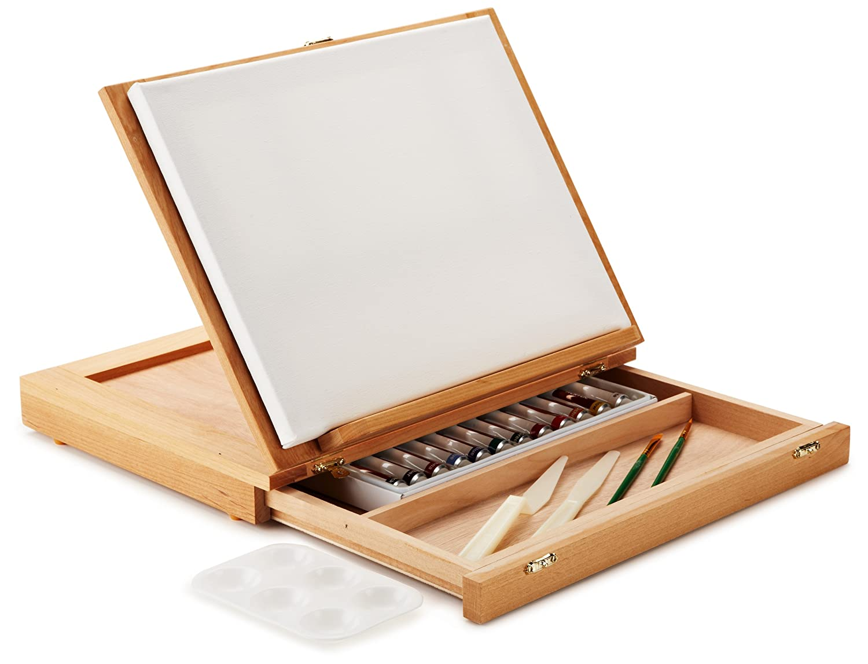 Art Advantage Wood Art Box Easel Paint Set New Free