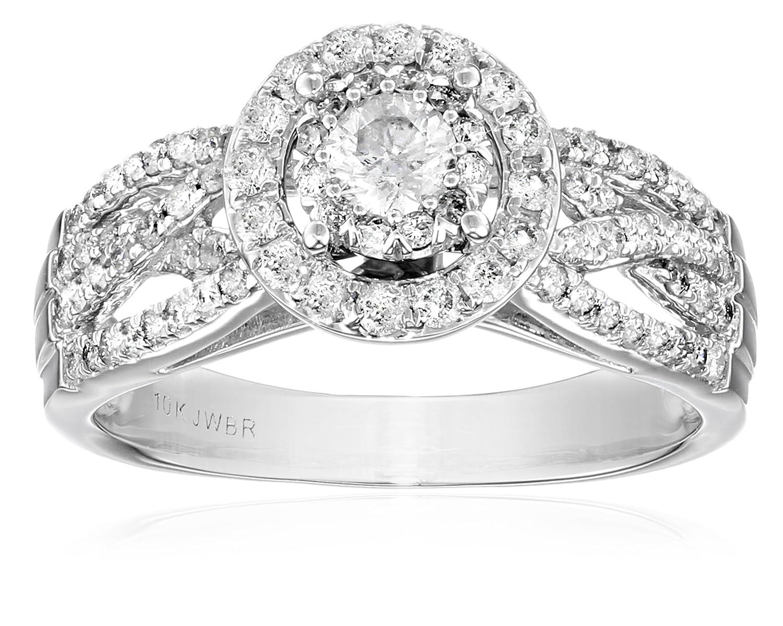 10k White Gold Round-Cut Diamond Engagement Ring (1cttw, I-J Color, I2-I3 Clarity)