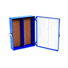 Heathrow Scientific HD15979A ABS Blue Sturdy Tall Slide Box, 208mm Width x 175mm Height x 60mm Depth, 100-Place