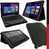 iGadgitz U2774 PU Leather Folio Case Cover with Multi-Angle Viewing Stand and Auto Sleep/Wake Plus Screen Protector Compatible with Asus Transformer Book T100, T100T and T100TA 10.1