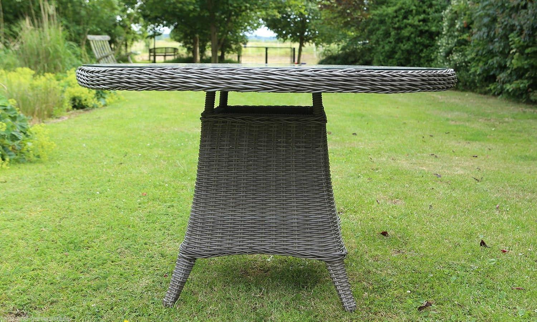 Gartentisch Destiny Luna 120 Ø cm Vintage GRAU Geflechttisch Esstisch Tisch Polyrattan Wintergarten günstig