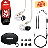 Shure SE215 Sound Isolating Earphones - Clear Bundle with Remote Cable, Triple Flange Sleeves, Sleeve Fit Kit, Carrying Case, and Austin Bazaar Polishing Cloth