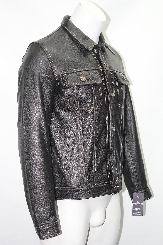 Mann schwarze Kuh ausblenden echtes Leder Trucker style kurzer Knopfleiste Jacke jetzt bestellen