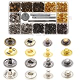 Aiskaer 120 Sets Snap Fasteners Kit, Metal Snap Buttons Press Studs with 4 Pieces Fixing Tools, 4 Color Clothing Snaps Kit for Leather, Coat, Down Jacket, Jeans Wear and Bags (Color: 12.3mm-633#)
