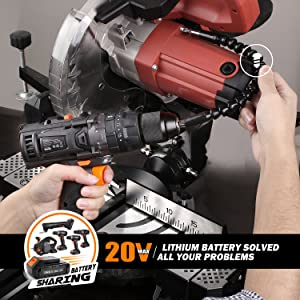 Tacklife PCD04B 20V MAX 2.0Ah Lithium-Ion 1/2 Cordless Drill Driver Set with Hammer Function, 2-Speed Max Torque 310 In-lbs, 43pcs Accessories Includ