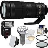 Nikon 200-500mm f/5.6E VR AF-S ED Nikkor Zoom Lens with iTTL Flash + Diffuser + Soft Box + Filters + Kit for DSLR Cameras (Color: Black)