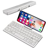 Mini Folding Bluetooth Keyboard, Raydem Portable Wireless Keyboard with Stand Holder, Ultra Thin Pocket-sized Aluminum Alloy Base with Carry Pouch for iPad, iPhone, Tablets, iOS, Android, Windows (Color: Twi-folding Keyboard with Stand-White)