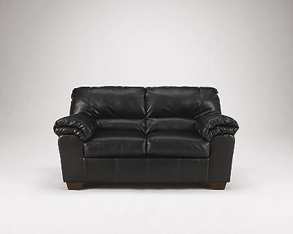 Commando Contemporary Black faux leather Loveseat