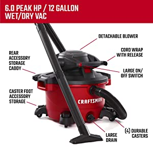 CRAFTSMAN CMXEVBE17606 12 gallon 6 Peak Hp Wet/Dry Vac with Detachable Leaf Blower, Portable Shop Vacuum with Attachments (Tamaño: 12 Gallon 6.0 Peak HP)