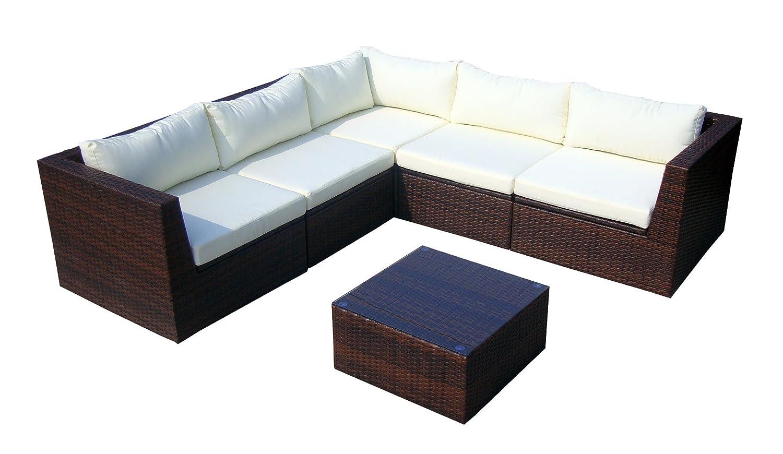 Baidani Gartenmöbel-Sets 10c00022.00002 Designer Rattan Lounge-Garnitur Surprise, Sofa, Couchtisch mit Glasplatte, braun online kaufen