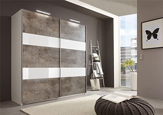 German Wimex Chess Glass Concrete Sliding 135CM Door Wardrobe Grey & White