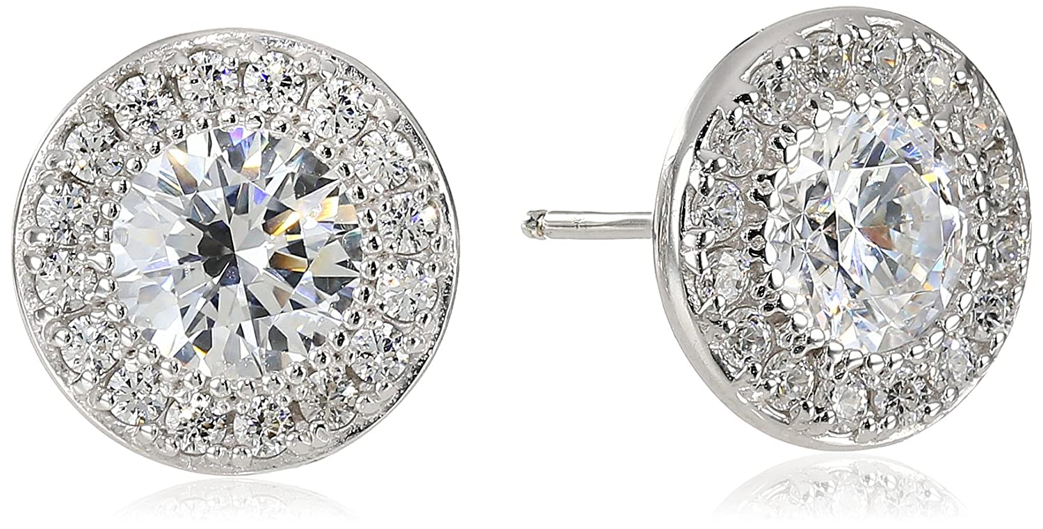 Platinum or Gold-Plated Sterling Silver Swarovski Zirconia Round-Cut Halo Stud Earrings