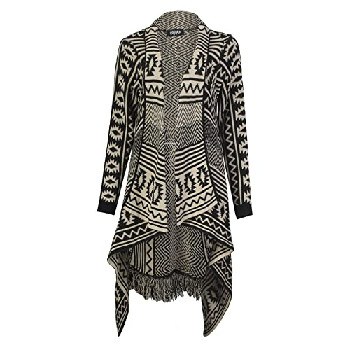 Forever Womens Aztec Stripe Diamond Print Knitted Waterfall Cardigan