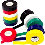 Weather-Resistant Colored Electrical Tape 60 Jumbo Roll 12 Pack by Nova Supply. Color Code Your Electric Wiring Safely with Indoor/Outdoor PVC Vinyl, UL Listed to 600V, for a Variety of Taping Needs (Color: white tape electrical, red electric tape, black, yellow electrics tape, green phase tape, blue insu, Tamaño: 3/4