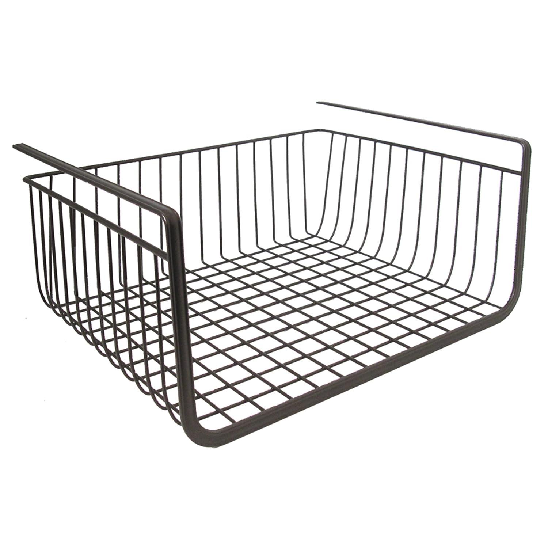 Metal Under Cabinet Storage Rack Shelf Organizer Kitchen: Under Shelf Basket Storage Space Saving Steel Bronze