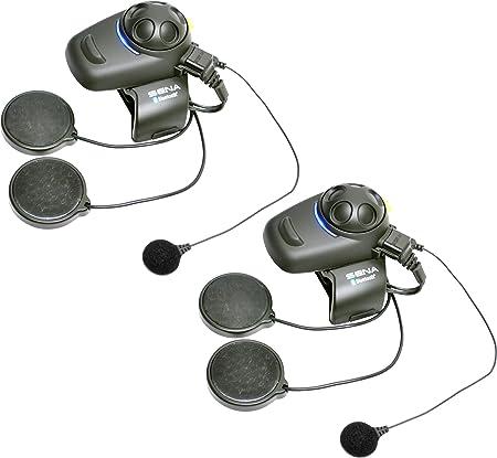 Sena SMH5D-FM-02 Ecouteurs et Intercom Bluetooth pour Motards avec Radio FM Intégrée, Casques Intégraux, Wire microphone Dual Pack