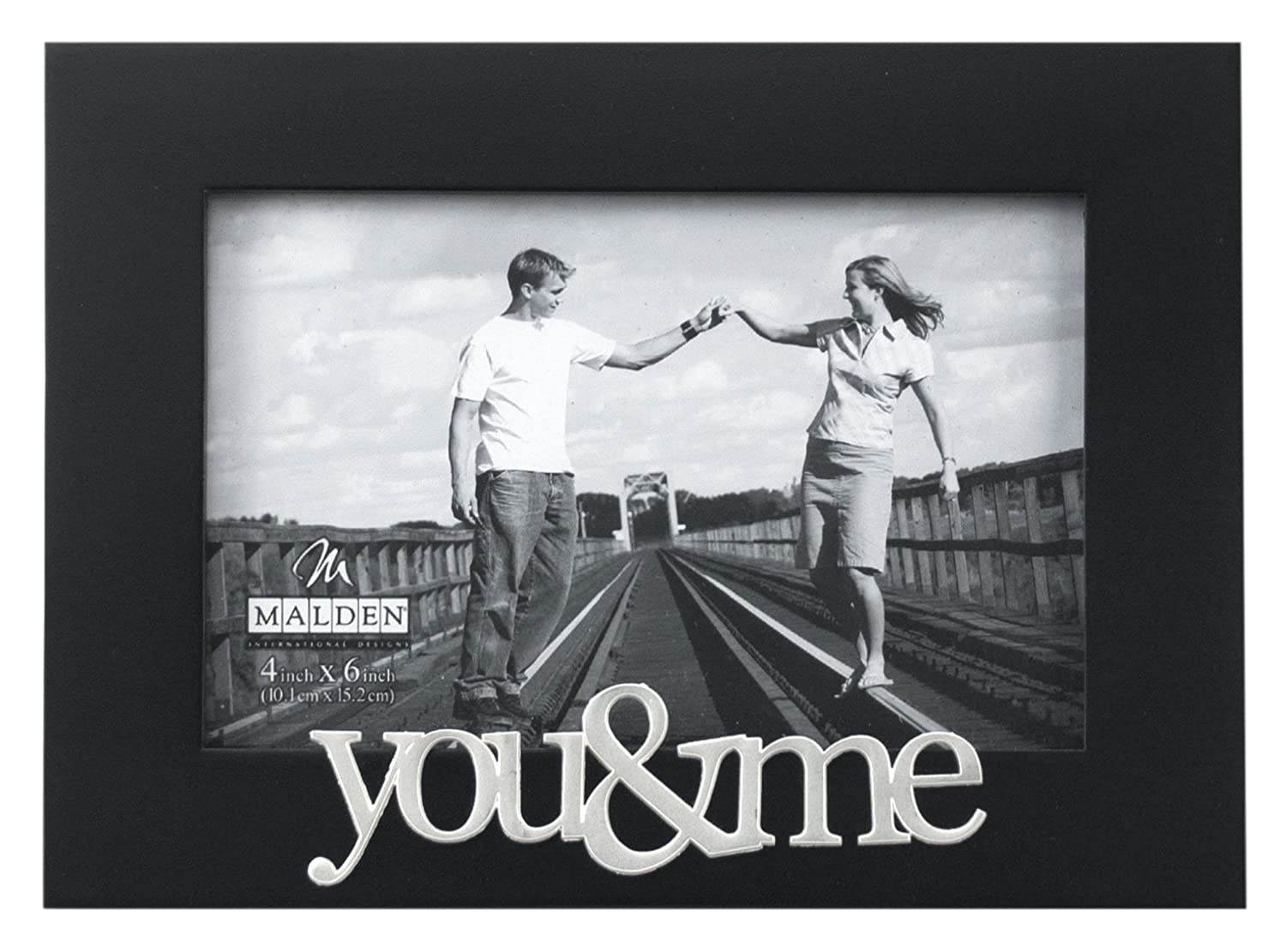 Malden Expressions Black Wood Picture Frame, You and Me, 4 by 6-Inch – Single Frames