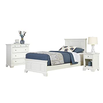 Home Styles 5530-4021 Naples Twin Bed, Night Stand and Chest, White