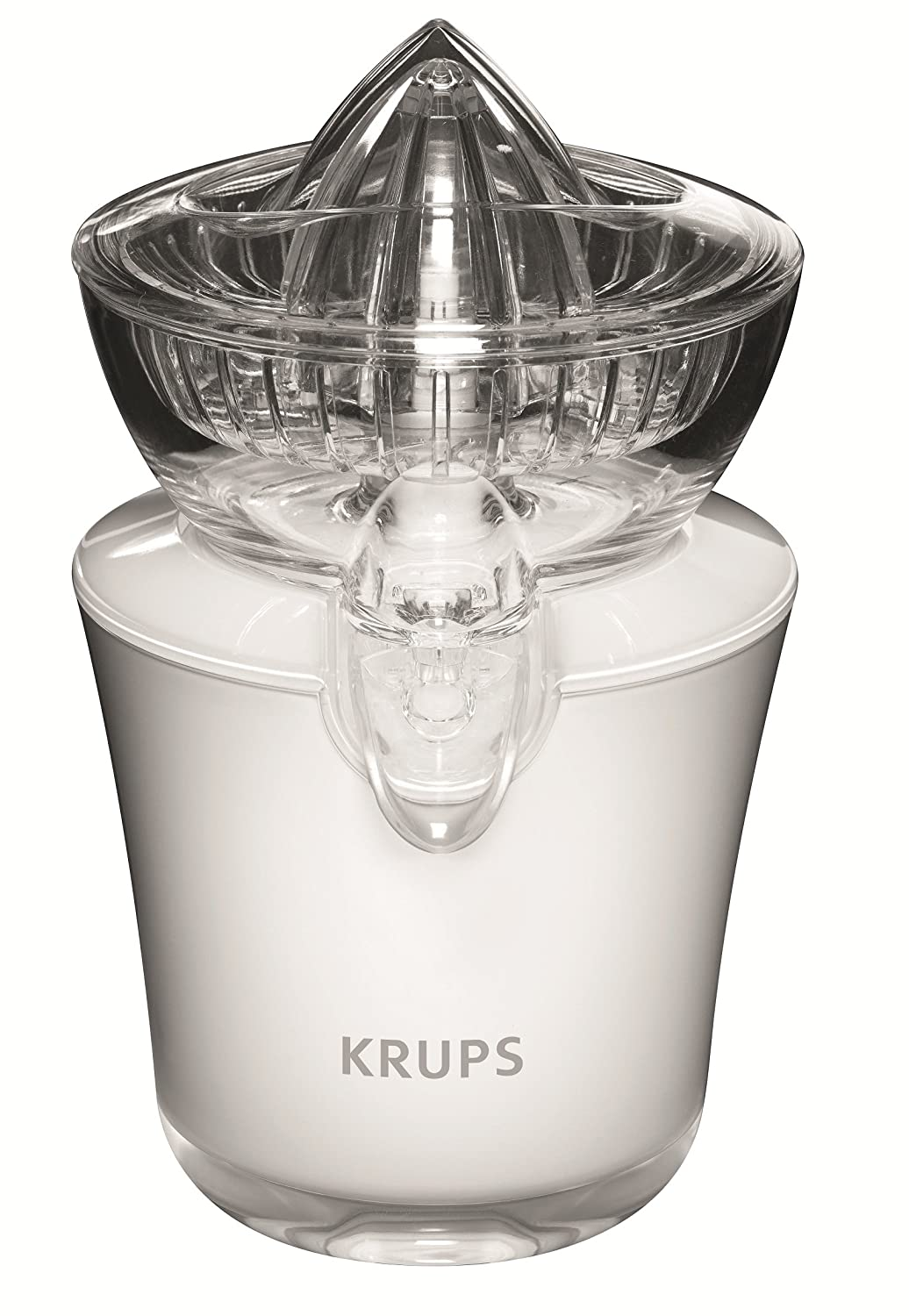 KRUPS ZX7201 Electric Acrylic Citrus Juicer with Automatic Fruit Pressure Detection, White