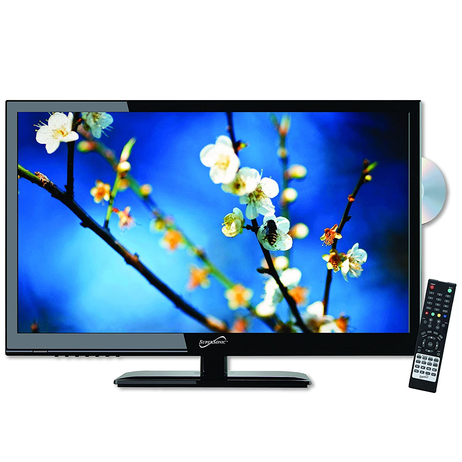 SuperSonic 24-Inch 1080p LED Widescreen HDTV with HDMI and Built-in DVD Player, AC/DC Compatible SC-2412