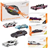 Hot Wheels ScreenRace Iconic car {id} Collection + Batman Batmobile TV Series + KITT Knight Rider + Back to The Future Time Machine + Race Portal Level Up Digital Tack 4 Items (Color: Multi)