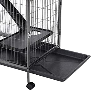PawHut 50 4 Tier Steel Plastic Small Animal Pet Cage Kit with Wheels - Silver Grey Hammertone (Color: Slivery Grey)