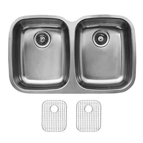 Ukinox D376.50.50.10.G Modern Undermount Double Bowl Stainless Steel Kitchen Sink with Bottom Grids
