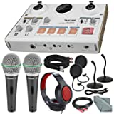 Tascam US-42 MinStudio Creator Audio Interface for Podcasting W/Platinum Bundle W/Cables + 2 Samson Microphones + Headphones + Pop Filters +Goose Neck Stands + Fibertique Cleaning Cloth