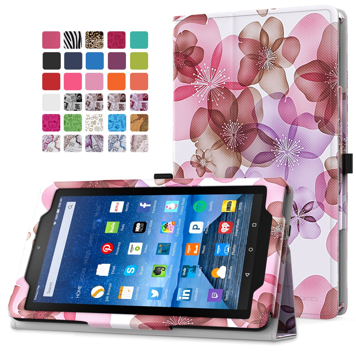 MoKo Fire 7 2015 Case - Slim Folding Cover for Amazon Fire Tablet (7 inch Display - 5th Generation, 2015 Release Only), Floral PURPLE