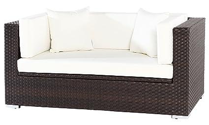 OUTFLEXX 2-Sitzer Sofa Lounge aus hochwertigem Polyrattan in braun mit Kissenboxfunktion inkl. Kissen-Polster, 152 x 85 x 70 cm, Gartensofa Couch fur 2 Personen, wetterfest, stabil und rostfrei,