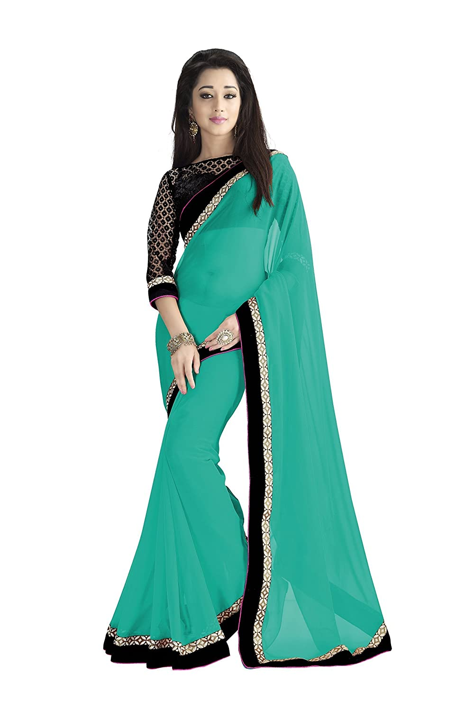 chiffon green color saree