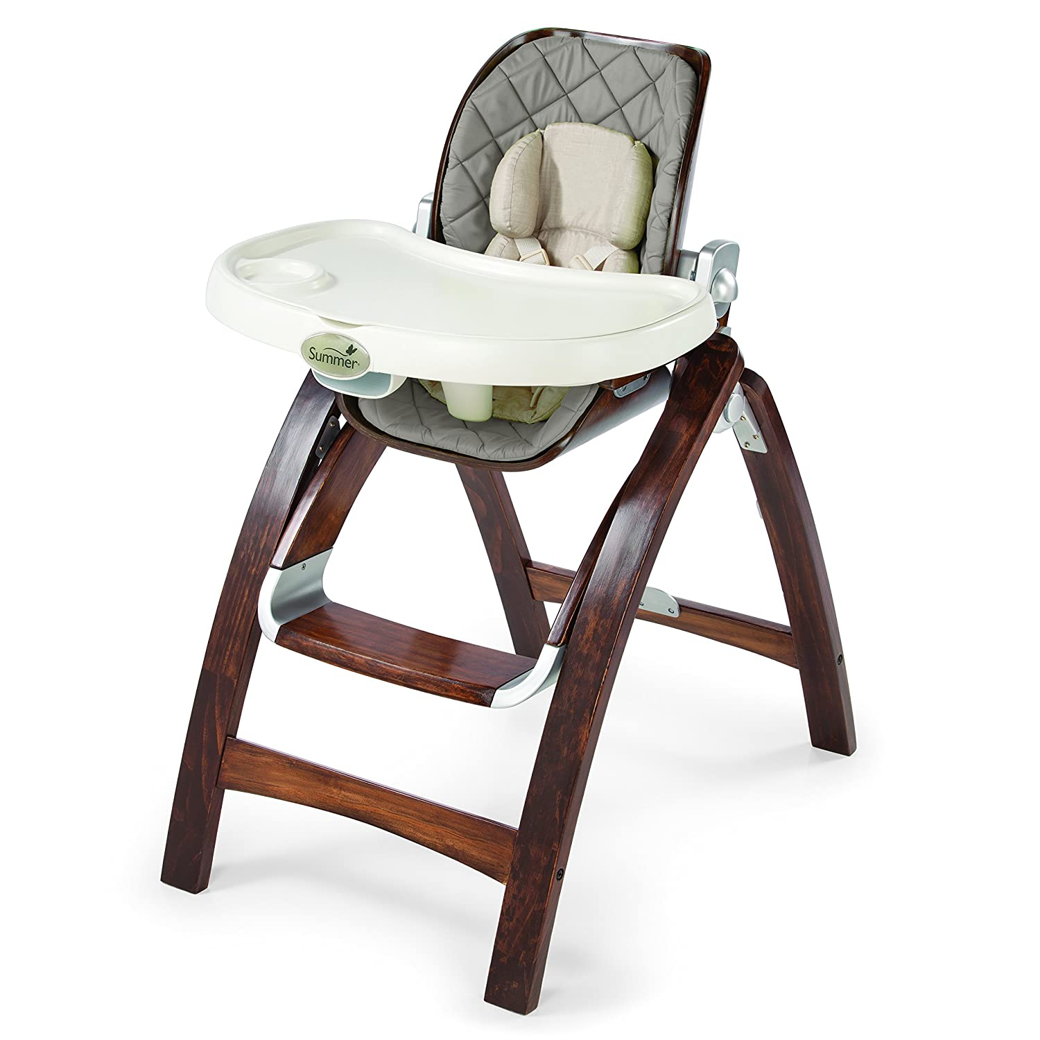 Wood Baby High Chair Gray Infant Seat Feeding Toddler