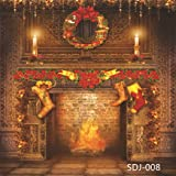 8x8ft Christmas Fireplace & Xmas Stocking Pictorial Cloth Vinyl Photography Backdrop Customized Photo Backdrops Background Studio Props SDJ-008 (Color: Sdj-008 8x8ft)