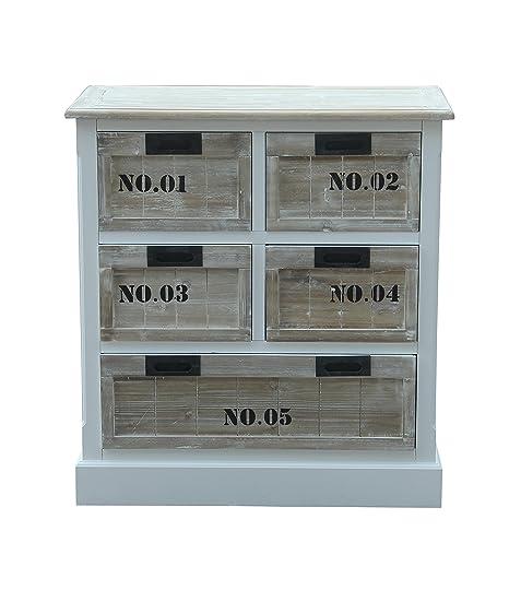 Sit-Möbel 8013-10 cómoda Forest, MDF, acabado antiguo, FSC-Certificado, 75 x 40 x 80 cm, Multicolor