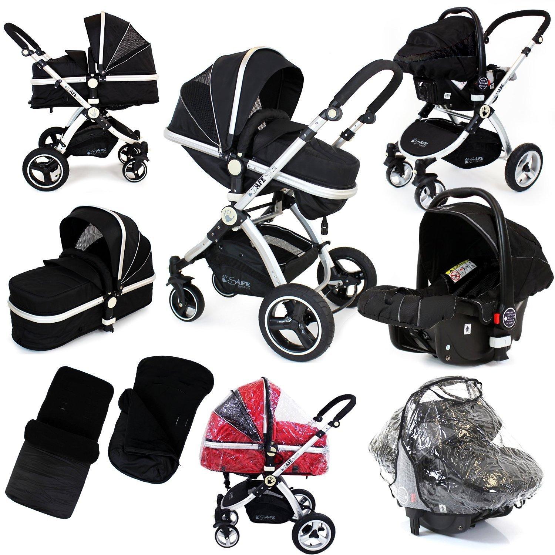 Black Grey Travel System Pram & Luxury Stroller 3 in 1