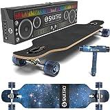 SKATRO Drop Through Longboard Skateboard Freeride - Includes T-tool (Color: Galaxy 1)