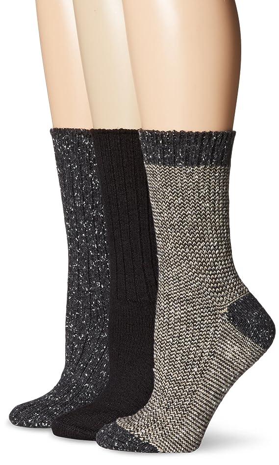 Hue Women's Twisted Rib Tweed 3 Pack Boot Sock