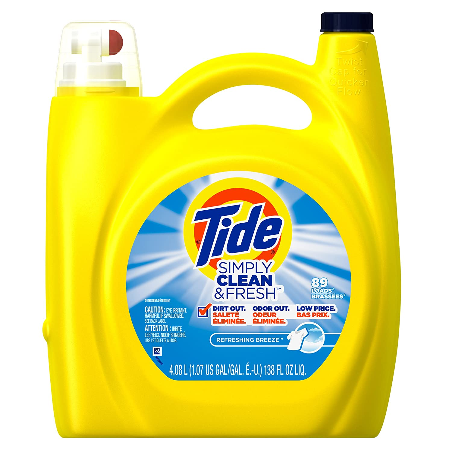 Tide Simply Clean & Fresh Refreshing Breeze Liquid Laundry Detergent, 138 Fl Oz (1) (1)
