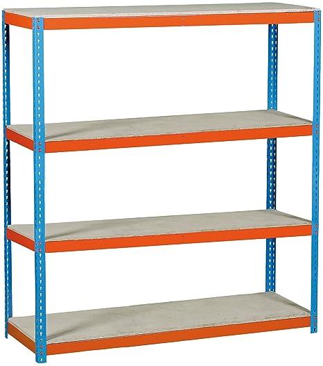 Estantería Metálica Simonforte 1809-4 Chipboard, Kit Simonforte Chipboard, azul/naranja, 2000x1800x900, 4 estantes, Simonrack
