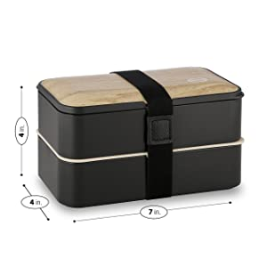 Tabkoe Bento Lunch Box Stackable Meal Prep Food Storage Containers Set, Reusable, Microwavable, Freezer-Safe, Dishwasher-Safe, Insulated 2-Tier Snack Boxes with Leak-Proof Lids & Cutlery, with DIVIDER (Color: Bamboo Black)