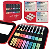 Crochet Kit, 9 Crochet Light Hooks, Lighted Crochet Needles Set, Led Crochet Hook Set W/Ergonomic Handle, Crochet Hook Case and 9 Batteries! 9 Knitting Needles, 2.5mm to 6.5mm (Red with 9 Batteries) (Color: red)