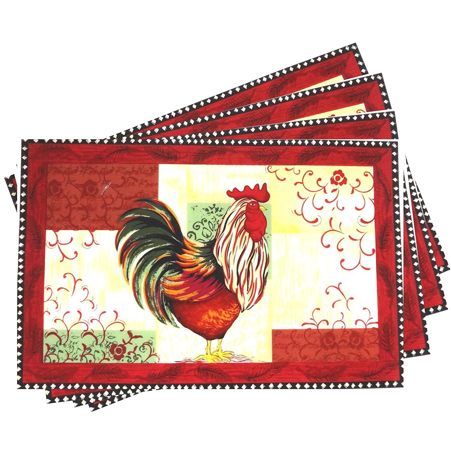 Easy to Clean Anti-Skid Vinyl Plastic Placemats with Red Rooster Decor Set of 4