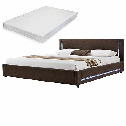[My.Bed] Elegante LED cama tapizada + colchón de espuma fría - 180x200cm - imitación ante (cabecero: marrón - Patas y parte lateral: marrón) - cama / cama de matrimonio / armazón de cama, incluye somier