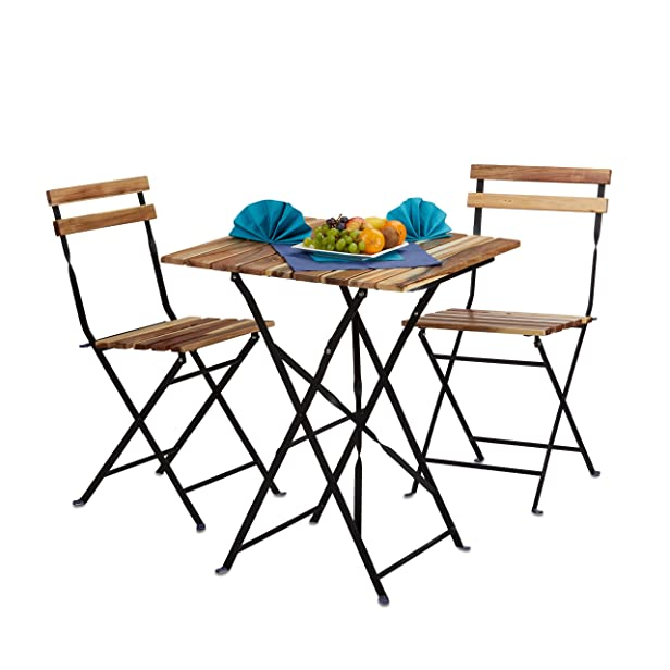 Relaxdays Set Mobili da Giardino per Esterno da 3 Pezzi, Marrone, 60 x 60 x 76 cm