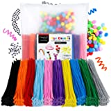 Magicfly 1000 Pcs Pipe Cleaners with 100 Pieces Pompom Balls 25mm and 50 Pcs Wiggle Googly Eyes, Chenille Stems in 10 Assorted Colors, 6mm x12 inch for DIY Arts & Craft Projects (Color: Colored)