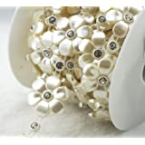 AEAOA 5 Yards 30mm Ivory Flower Pearl Rhinestone Chain Sew On Trims Wedding Dress Decoration (LZ149) (Color: Ivory, Tamaño: LZ149)