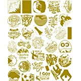 Transparent Vinyl Gold Stickers Pack for Watter Bottle,Clear Stickers, Wilderness Nature Outdoors Stickers and Decals Sport Hike Camp Travel Trip Climb Ride Adventure Stickers (Gold Stickers) (Color: Gold, Tamaño: Gold stickers)