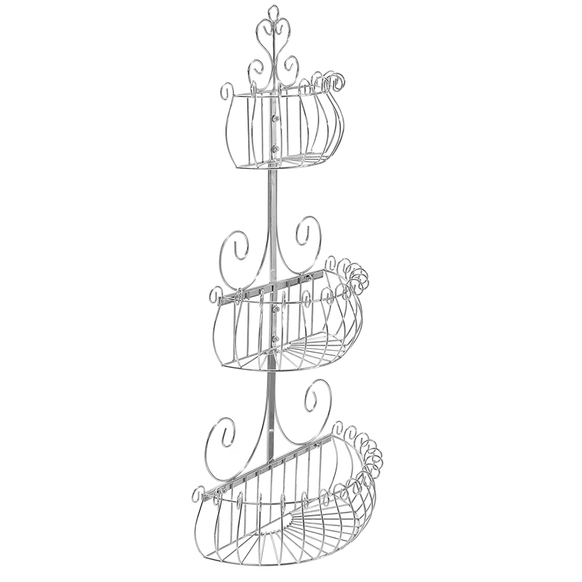Wall Mounted Scrollwork Design Deluxe 3 Tier Silver Iron Fruit Basket / Kitchen Storage Rack - MyGift